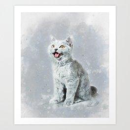 Watercolor British shorthair kitten Art Print