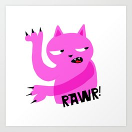 Pink Rawr Cat Art Print