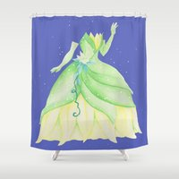dress Shower Curtains featuring Tiana Dress by Amanda