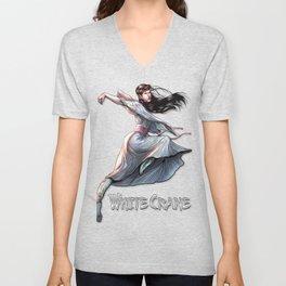 White Crane Comic Kung Fu Girl tshirt cute martial arts gift Unisex V-Neck