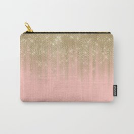 Girly Glamorous Pink Gold Glitter Striped Gradient Carry-All Pouch
