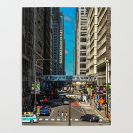 Cartoony Downtown Chicago Poster