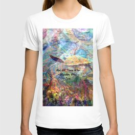 Not All Who Those Wander Are Lost Inspirational Quote With Beautiful Sea Turtle Painting T-shirt