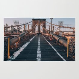 Golden Hour On Brooklyn Bridge Rug