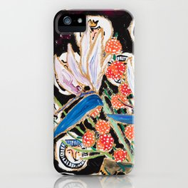 Lions and Tigers Dark Floral Still Life Painting iPhone Case