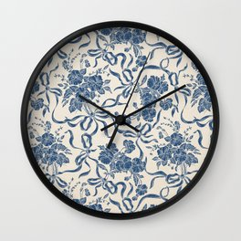Chic Modern Vintage Ivory Navy Blue Floral Pattern Wall Clock