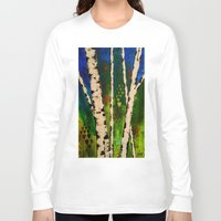 birch Long Sleeve T-shirts featuring Blue Birch by BeachStudio