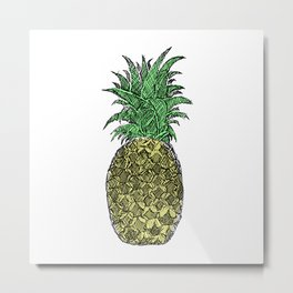 Pineapple Sketch Metal Print