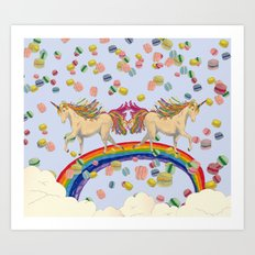 Rainbow unicon and macalon Art Print