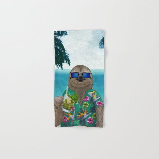 Sloth on summer holidays drinking a mojito Hand & Bath Towel