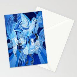 Muge's Pigeons in Blue  Stationery Cards