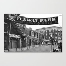 Fenway Park Banner Black and White Canvas Print
