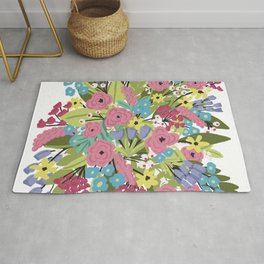 Bold Floral on White background Rug