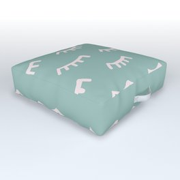 Mint Sleeping Eyes Of Wisdom - Pattern - Mix & Match With Simplicity Of Life Outdoor Floor Cushion