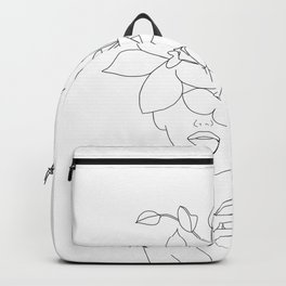 Minimal Line Art Woman with Orchids Backpack