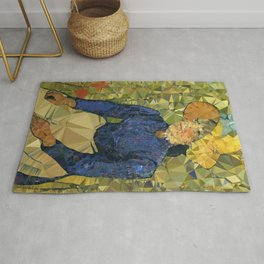 Young Woman in Wheat Field After Van Gogh Low Poly Geometric Art Rug