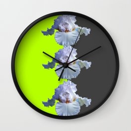 MODERN WHITE IRIS DIVIDED CHARTREUSE & GREY ART Wall Clock