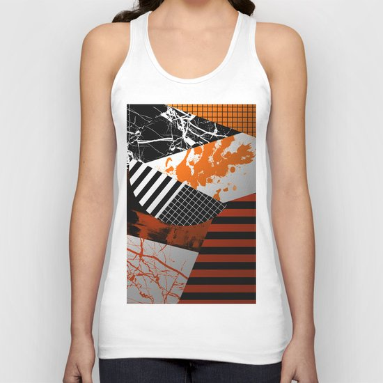 Metallic Pieces - Rustic, Abstract, metallic, textured black, white and gold artwork Unisex Tank Top