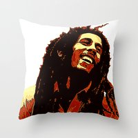 reggae Throw Pillows featuring the god of reggae by  Agostino Lo Coco