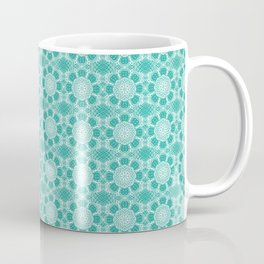 Project 503  |  White Lace on Teal Green Coffee Mug