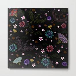 Black Japanese pattern kimono print Metal Print