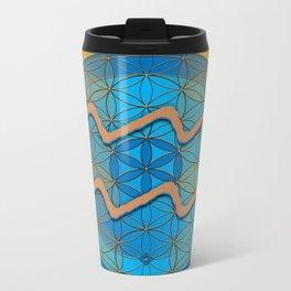 Flower of Life AQUARIUS Astrology Design Metal Travel Mug