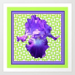 Decorative  Purple Iris Lime Green Optical Pattern Art Art Print