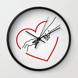 The creation of Adam- The hands of God and Adam within a red heart Wall Clock