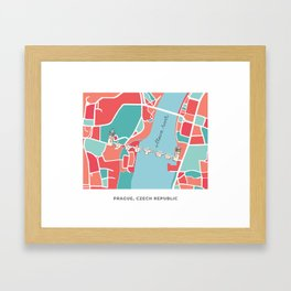 Prague Minimal Map Framed Art Print