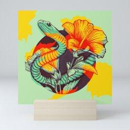 Snake and flowers Mini Art Print