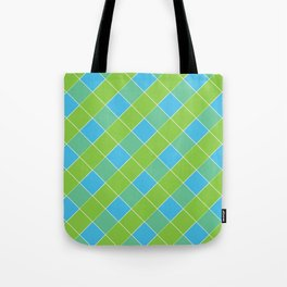 PLAID, NEON BLUE AND LIME GREEN Tote Bag