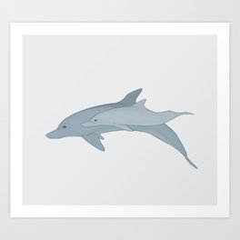Bottlenose Dolphin Mother and Calf Art Print