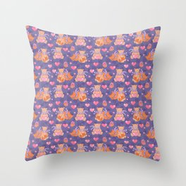 Teddy and Cat Throw Pillow