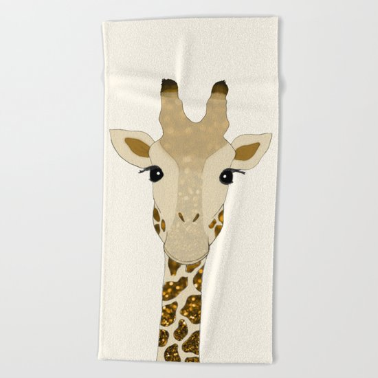 Golden Glitter Giraffe Beach Towel
