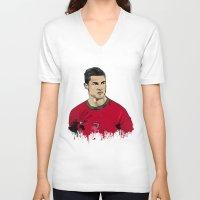 ronaldo V-neck T-shirts featuring Cristiano Ronaldo by J Maldonado