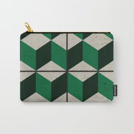 Vintage tiles - green isometric cubes Carry-All Pouch