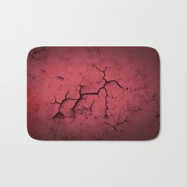 Abstract Texture Red Clay Cracked Wall Bath Mat