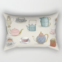 Vintage Teacups and Teapots Rectangular Pillow