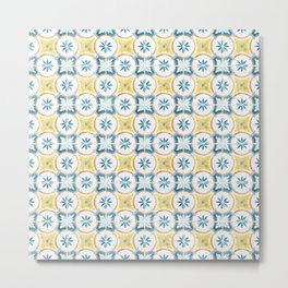 Blue and yellow floral tiles Metal Print