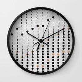 Lunar Moon Phase Calendar 2021 grey watercolour Wall Clock