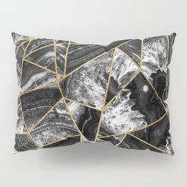Black White Agate Black Gold Geometric Triangles Pillow Sham