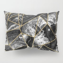 Black White Agate Black Gold Geometric Triangles Pillow Sham