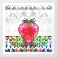 strawberry Art Prints featuring Strawberry by Ornaart