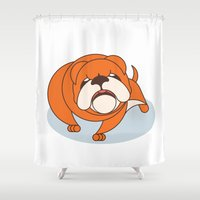 bulldog Shower Curtains featuring Bulldog by Paul Turcanu