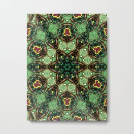 Green Star Flower Metal Print