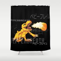 digimon Shower Curtains featuring Pepperbreath by Jabburwocky