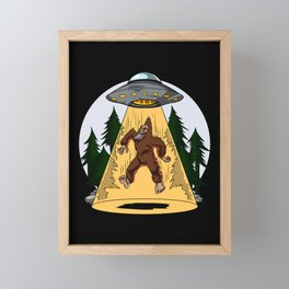 Alien Abduction Bigfoot UFO Framed Mini Art Print