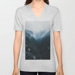 Foggy Forest Mountain Valley - Landscape Photography Unisex V-Neck