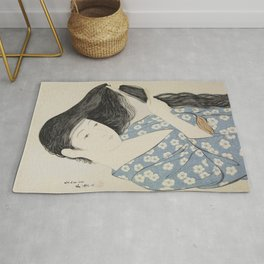 Hashiguchi Goyo: Woman Combing Her Hair Japanese Woodblock Print Blue Floral Kimono Black Hair Rug