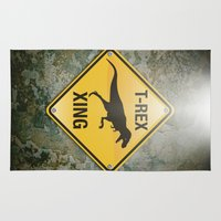 t rex Area & Throw Rugs featuring T-Rex Crossing by Peter Gross